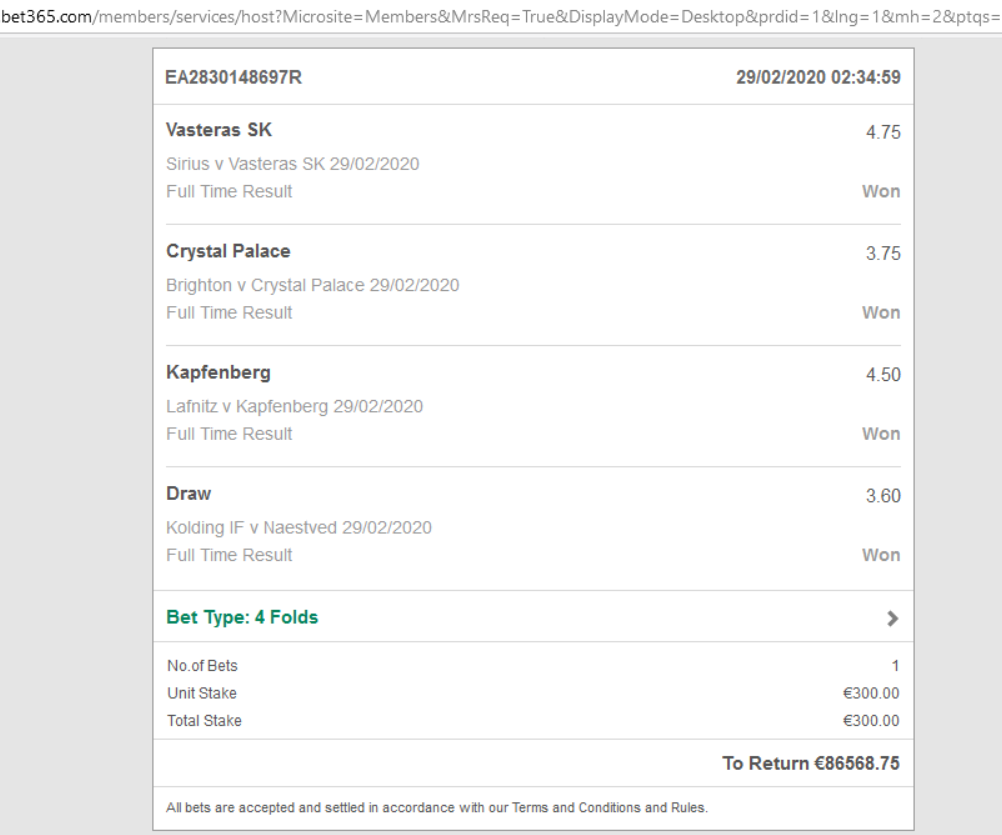 bet 365 proof vip ticket 29 02