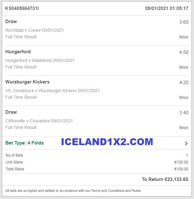 Iceland best fixed matches 1x2 won 09 01