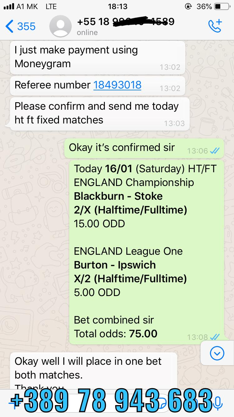 DOUBLE HALFTIME FULLTIME FOOTBALL FIXED MATCHES WON 16 01