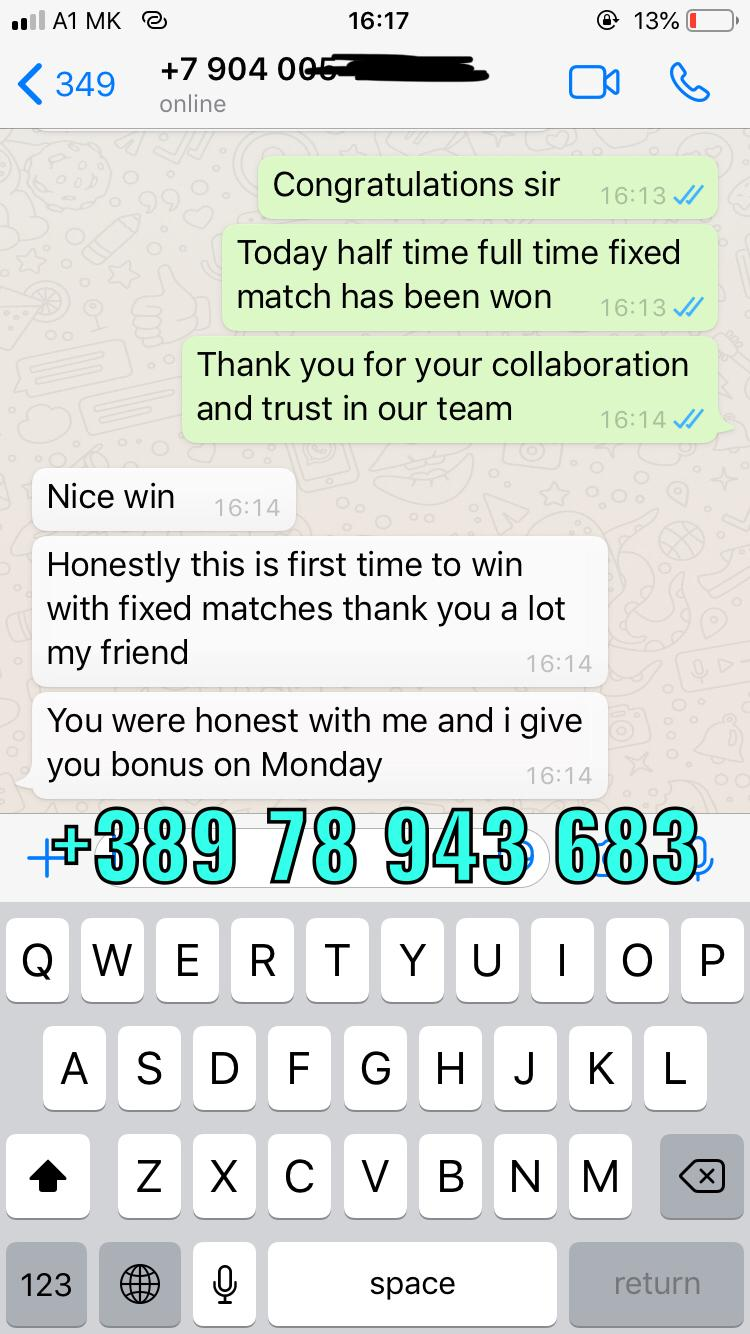 WHATSAPP FIXED MATCHES PROOF 19 09