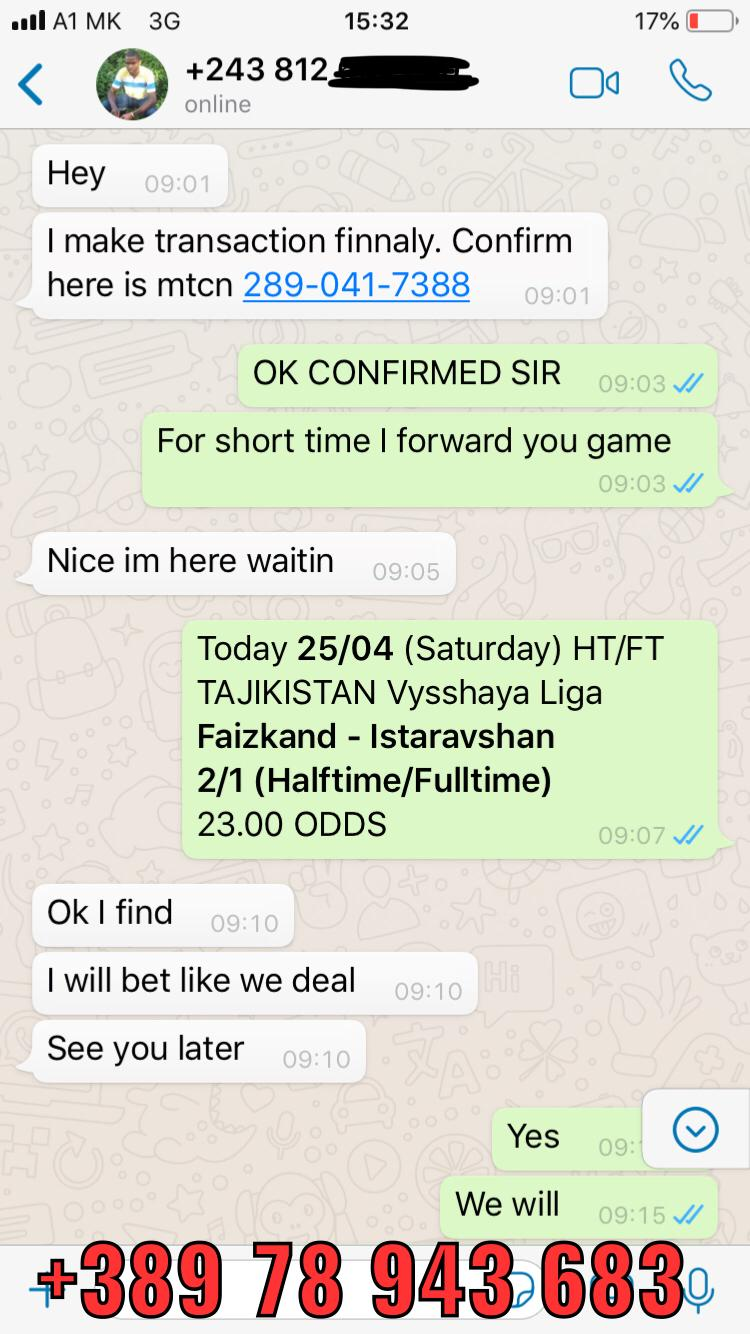 WhatsApp ht ft fixed matches won